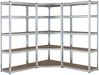 Kit de estantería de esquina de garaje galvanizada resistente, 1 unidad de esquina de 1500 mm x 700 mm x 300 mm