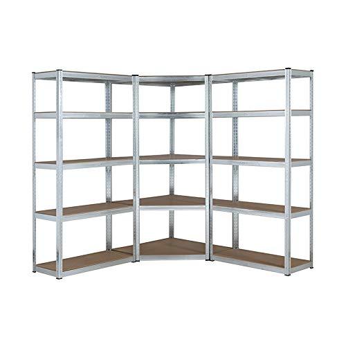 Kit de estantería de esquina de garaje galvanizado resistente, 1 unidad de esquina de 1500 mm x 700 mm x 300 mm