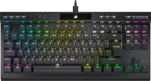 Corsair K70 RGB TKL CHAMPION SERIES Mechanische Tenkeyless-Gaming-Tastatur (CHERRY MX SPEED-Tastenschalter: Schnell und Hochpräzise, Aluminiumrahmen, RGB-LED-Hintergrundbeleuchtung) QWERTZ, Schwarz