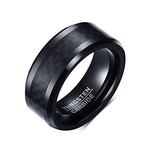 BOBIJOO JEWELRY - Ring-Alliance-Mann Wolfram-karbid-Schwarz Carbon 8mm 10 Jahre Garantie - 21,6 (12 US), Versilbert - Wolframcarbid