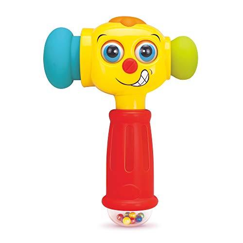 Stone and Clark Spielzeug Hammer mit Lichtern, Lernmodus und Musikmodus – Baby Hammer Spielzeug spielt 6 Kurze Kinderlieder – Plastik Hammer Baby Schlag Spielzeug für Kinder ab 12 Monaten