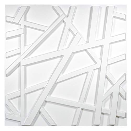 Art3d - Panel de pared 3D de PVC blanco mate con líneas de cruce geométricas de 32 pies cuadrados, para decoración interior residencial y comercial