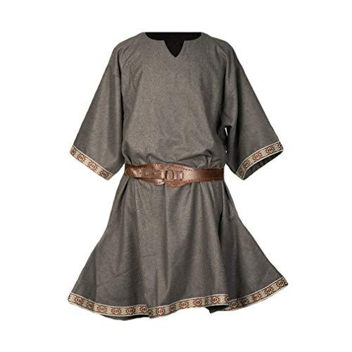 fengduo Mujer Medieval Camisa Gótico Victoria Raya Túnica Vintage Suelto Vikingo Shirt Victoria Pirata Ropa Tradicional Tamaño Grande S-4XL(Sin Cinturón)