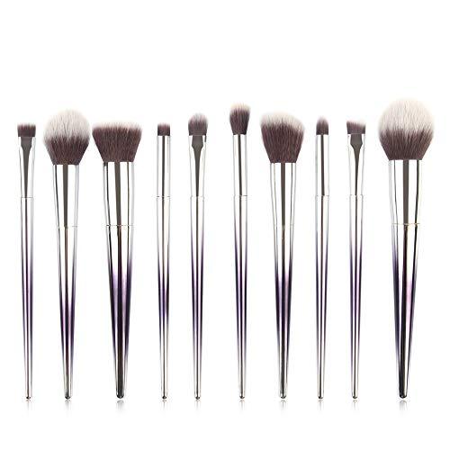 10 Pinceau De Maquillage Poignée Rhombique Ensemble Outils De Beauté Dégradé Or Rose Manche Dégradé Violet Argent