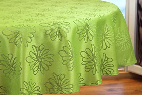 Kamaca - Flores marinas de calidad con efecto loto, protección antimanchas, fácil de limpiar, poliéster, verde, Tischdecke 160cm rund