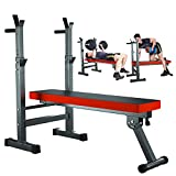 Weight Bench With Adjustable Barbell Rack, Multi-functional Fitness Equipment , Folding Bench Press For Home Strength Training, Full Body Workout