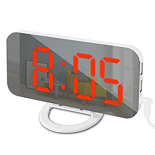 Yousiju Reloj Despertador para el hogar Digital electrónico Inteligente Pantalla LED Reloj de Calendario de Escritorio con Temperatura y Humedad (Color : Red)