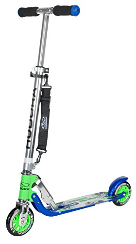 HUDORA Big Wheel Scooter 125 mm, Kinder Scooter - Kinder Roller, blau/grün, 14753