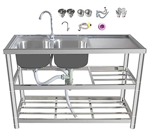 2 Compartiment Roestvrijstalen NSF Commerciële Keuken Prep & Utility Sink met 2 Drainboards – 120 * -80 * 45cm Left…