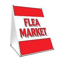 A-Frame サイドウォーク フリーマーケットサイン 両側にグラフィック付き | 24インチ X 36インチ プリントサイズ