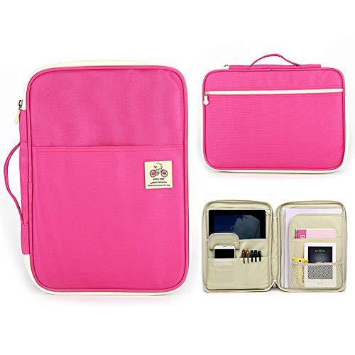 Multifunktional Laptoptasche Wasserdicht Organizer im Büro Aufbewahrungstasche A4 Aktenmappe (Rosa)