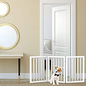PETMAKER Freestanding Pet Gate – Wooden Folding Fence for Doorways, Halls, Stairs & Home – Step Over Divider – Great for Dogs & Puppies