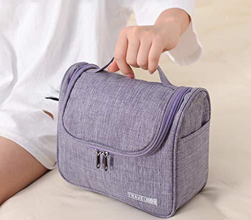Bolsa de aseo de viaje para colgar, resistente al agua, con bolsillos de malla y resistente bolsa de ducha de nailon para hombre y mujer, organizador para accesorios de viaje (púrpura)