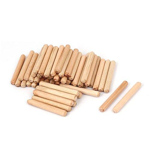 Aexit 8x 60mm Stifte rund aus Holz Craft Spannstifte–Licht Holzstifte Braun (50tlg.)
