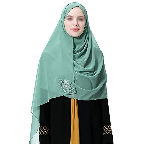 iKulilky - Pañuelo para la Cabeza para Mujer, pañuelo islámico musulmán, Gorro de Gasa para la Cabeza Verde Verde tamaño único