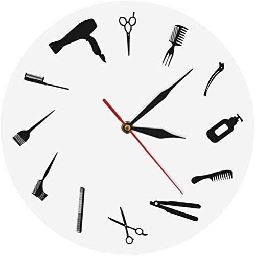 XXSCXXSC Wanduhr Friseur Shop Moderne Wanddekoration Kunst Zeichen Friseur Ausrüstung Wanduhr Friseursalon Friseur Werkzeuge Zeitraffer Uhr Lautlos Leicht zu lesen