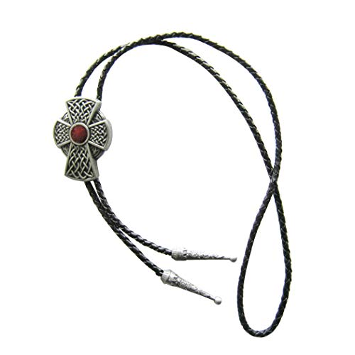 Vintage Style Red Enamel Celtic Cross Knot Bolo Tie Leather Necklace