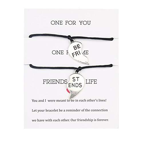 ZSDFW 2 pulseras de amistad con tarjeta hechas a mano, pulseras de amigos y pulseras de cadena ajustable para mujeres y hombres, regalo de Acción de Gracias, color negro