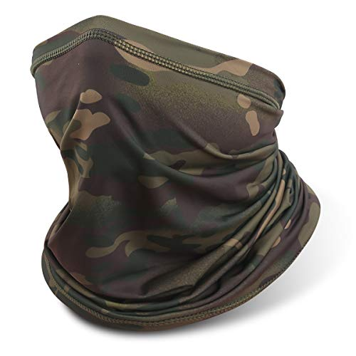 Neck Gaiter Face Mask, Sun Dust Protection Neck Wraps, Full Face Covering Balaclava, Reusable Masks Scarf Bandana Green Camouflage