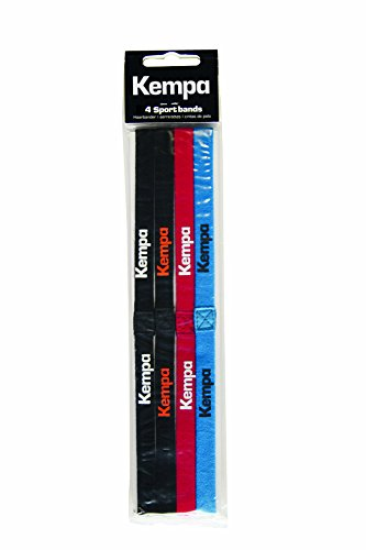 Kempa, Fasce per capelli, Confezione da 4, Blu (Blu/Nero/Rosso/Bianco), Unica