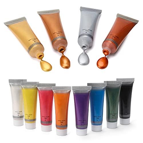 Colori Acrilici Metallizzati per Dipingere - 12 X 12ML Colori Pittura su Tela, Tessuti, Modellismo, Legno, Plastica, Muro, Pietra, Ceramica, Vetro - Set Pittura Acrilica per Bambini e Esperti