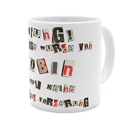printplanet Tasse mit Namen Robin - Motiv Ausgeschnittene Buchstaben - Namenstasse, Kaffeebecher, Mug, Becher, Kaffeetasse - Farbe Weiß