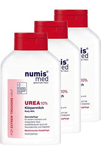 numis med Körpermilch mit 10% Urea - Hautpflege parfümfrei & vegan - Bodylotion für sensible, zu Neurodermitis neigende & trockene Haut - Lotion im 3er Pack (3x 300 ml)