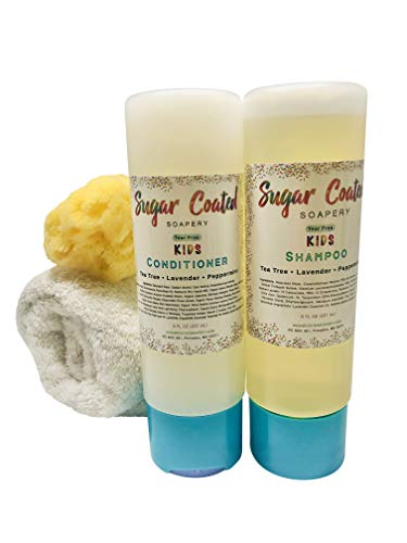Tear-free Kids Shampoo and Conditioner Set with Tea Tree Oil | Natural Baby Bath Essentials | Anti-Lice, Dandruff, Dry, Itchy Scalp & Cradle Cap Relief | Dry and Oily, ALL Hair Types