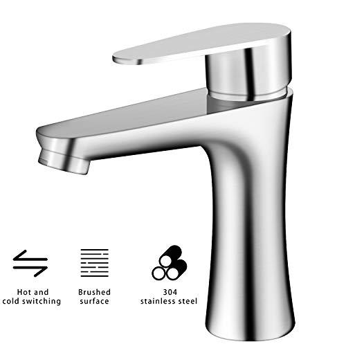 YJHome Wasserhahn des Heißen und Kalten Waschbecken Armatur Edelstahl Badarmaturen Waschtischbatterie