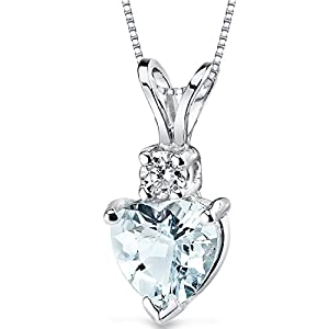 14 Karat White Gold Heart Shape 0.75 Carats Aquamarine Diamond Pendant Necklace