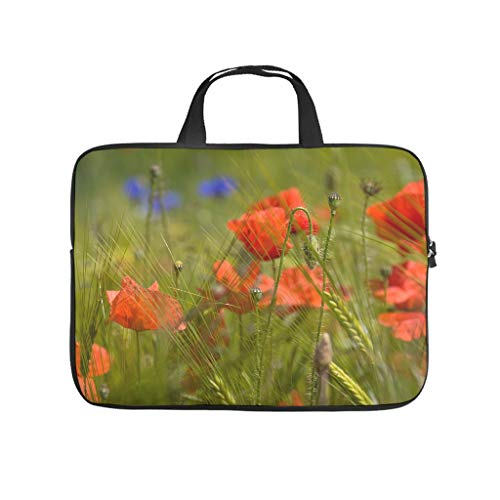 Natural Grass Field Wheat Autumn Flower Laptop Sleeve Fashion Printed Laptop Storage Bag Scratch Resistant Polyester Laptop Cover for Girls Boys White 12inch