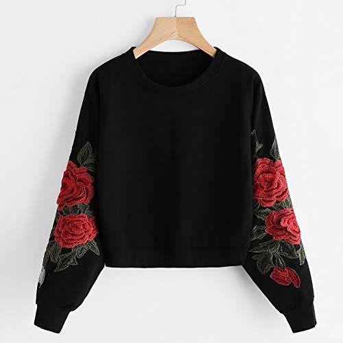 GDRFHJZ Top trui O-hals sweatshirt persoonlijkheid Harajuku applique roze borduurwerk lange mouwen dames