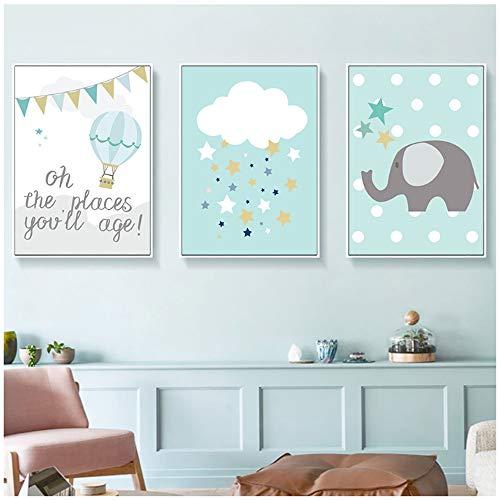 Cuadro en lienzo Azul Globo aerostático Estampado para niños Cartel de elefante nórdico Estrellas Nursery Wall Pictures Decoración de la habitación del bebé 30x40cm (11.8