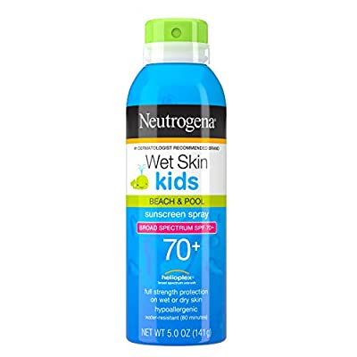 Neutrogena Wet Skin Kids Sunscreen Spray Mist, Water-Resistant and Oil-Free, Broad Spectrum SPF 70+ UVA/UVB Protection, Hypoallergenic, PABA-Free Non-Comedogenic, 5 oz