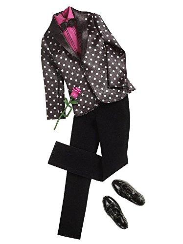 Barbie X7851 - Ken Mode, Bekleidung, Modell 2013 - mit elegantem Anzug in schwarz-weiß, pinkem Hemd mit Fliege, Schuhen und Rose
