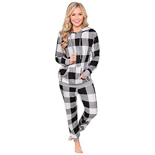 HOUADDY Conjunto de pijama de dos piezas con estampado de Navidad para mujer, manga larga, sudadera con bolsillos, rejilla blanca y negra, L