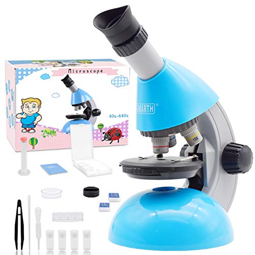 Emarth Microscope for Kids, 40X- 640X Monocular with Educational Science Kits Includes 25 Slides, Adjustable Phone Holder and LED Light Beginners Microscope for Children Student (Blue)