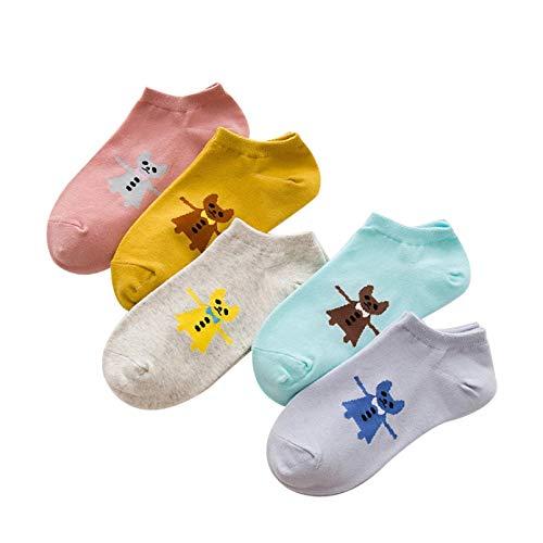 FGSDG10 Piezas = 5 Pares Otoño Invierno Nuevo japonés pequeño algodón Fresco Dibujos Animados Zapatillas Femeninas Calcetines de algodón Calcetines de Mujer