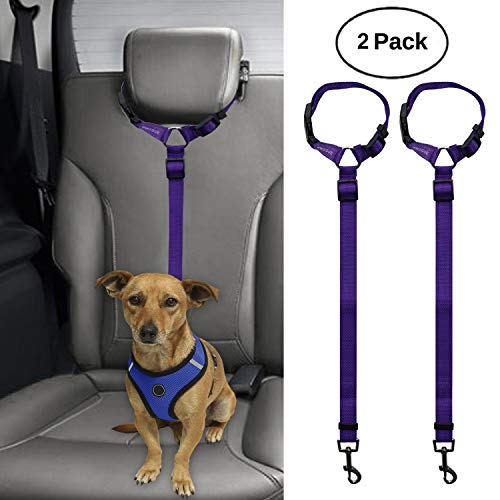 BWOGUE 2 Packs Dog Cat Safety Seat Belt Strap Car Headrest Restraint Adjustable Nylon Fabric Dog Restraints Vehicle Seatbelts Harness