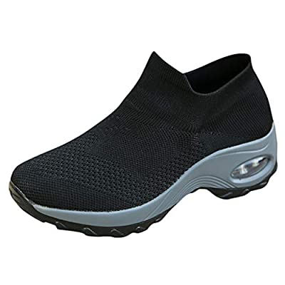 SamenoSt. Women Sock Sneakers Slip On Standing All Day Work Shoes Platform Air Cushion Lightweight Woven Nursing Shoes
