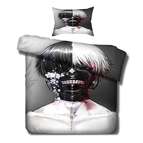 Saicowordist Tokyo Ghoul Bettwäsche-Set, 2-teilig, Cartoon-Druck, 1 Bettbezug + 1 Kissenbezug oder 2 Kissenbezüge, geeignet für Mädchen und Jungen (135 x 200 cm, 2-teilig)