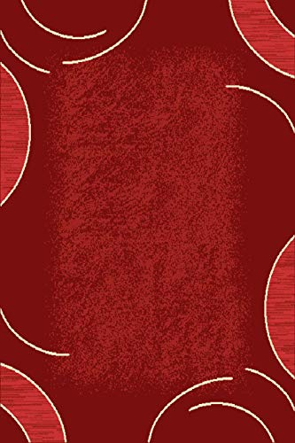 SrS Rugs Luna Collection, Living Room Rugs, Hallway Runners, with Soft Smooth 8mm Pile. Contemporary Borders Design. 7 Colours, 9 Sizes (Red Swirl, 160cm x 225cm)