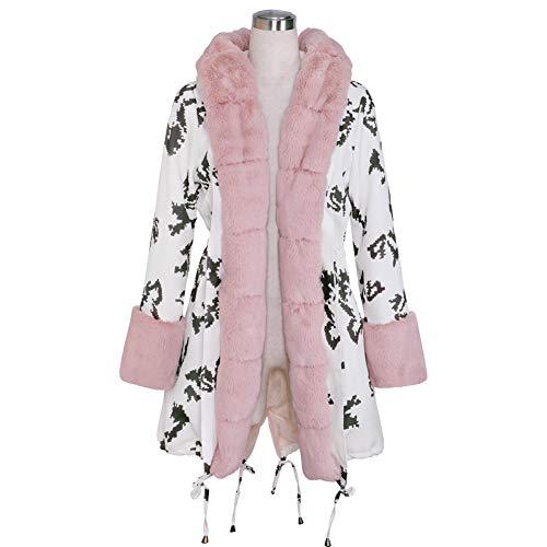 Frauen-Winter Verdicken Warme Mantel Kapuze Parka Lange Dame Webpelz Wolle Jacke Outwear Großen Pelzkragen,04,S