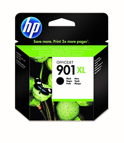 HP 901XL CC654AE, Negro, Cartucho de Tinta de Alta Capacidad Original, compatible con impresoras de inyección de tinta HP Officejet All-in-One 4500, J4580, J4680, Negro