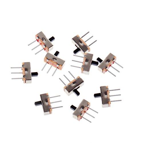 BELTI 10 Piezas 2 Posiciones Encendido/Apagado SPDT 1P2T 3 Pines PCB Panel Mini Interruptor Deslizante Vertical SS12D00G3