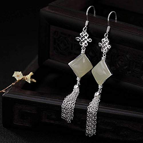 WOZUIMEI Chinese Style Earrings Eardrop S925 Sterling Silver Chinese Knot Lucky Knot Inlaid with Nephrite White Jade Tassel Female Earrings As Shown