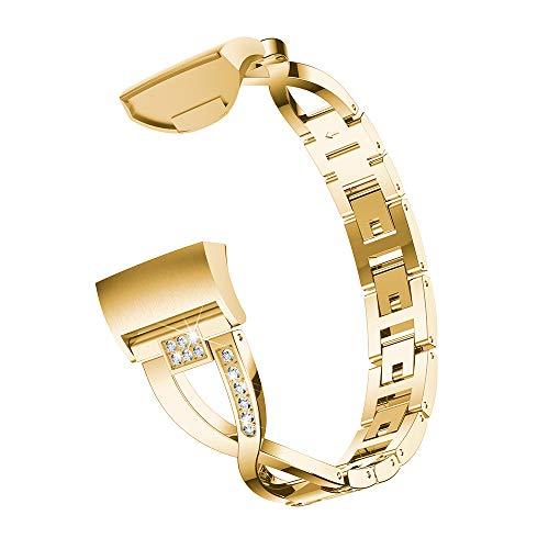 Yimiky Correa de reloj para Fitbit Charge 3, correa de repuesto de acero inoxidable X-Link para reloj deportivo Fitbit Charge 3, color dorado