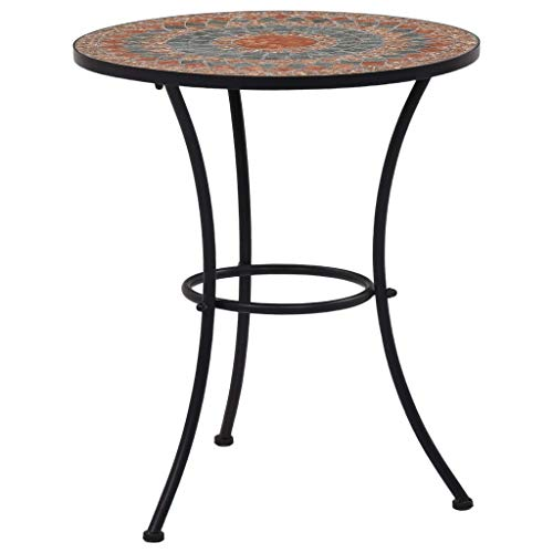 vidaXL Mosaic Bistro Table Outdoor Garden Balcony Side Tables Patio Furniture Plant Desks Brown 60 cm Orange and Grey