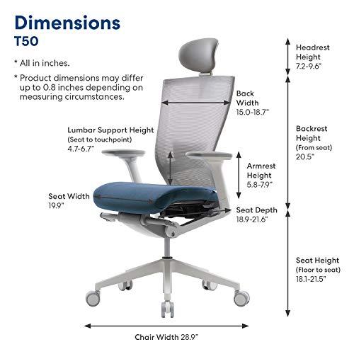 SIDIZ T50 Home Office Desk Chair : Ergonomic Office Chair, Adjustable Headrest, 2-Way Lumbar Support, 3-Way Armrests, Forward Tilt Adjustment, Adjustable Seat Depth,Ventilated Mesh Back