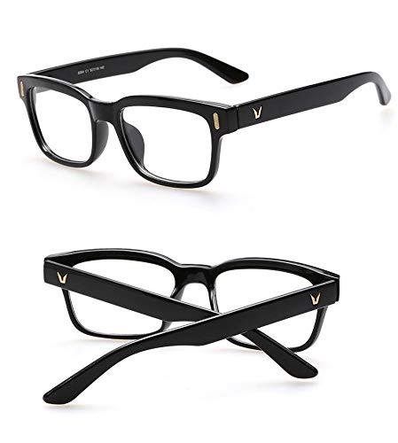 Black Large Square Frame Glasses Retro Optical Clear Lens Eyeglasses Unisex...